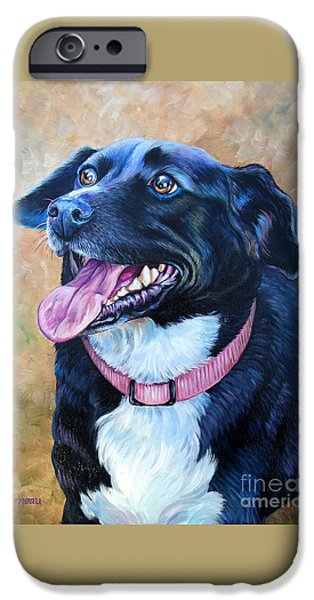 Mixed Labrador Retriever Paintings iPhone Cases - Sallie iPhone Case by Catherine Garneau