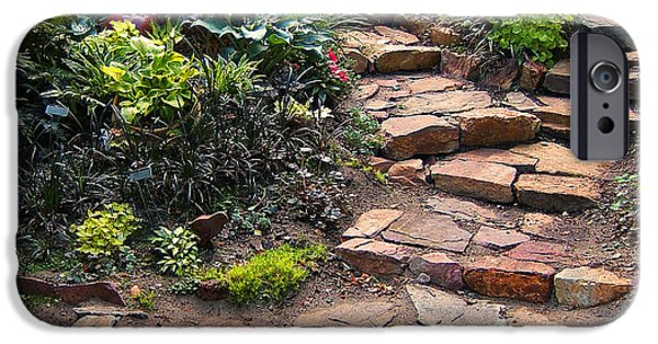 Stone Steps iPhone Cases - Sallys Garden iPhone Case by Nancy Harrison