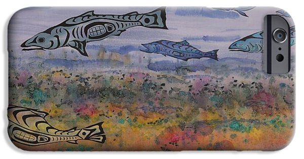 Animals Tapestries - Textiles iPhone Cases - Salmon in the Stream iPhone Case by Carolyn Doe