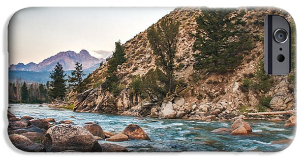 Haybale iPhone Cases - Salmon River In The Twilight iPhone Case by Robert Bales