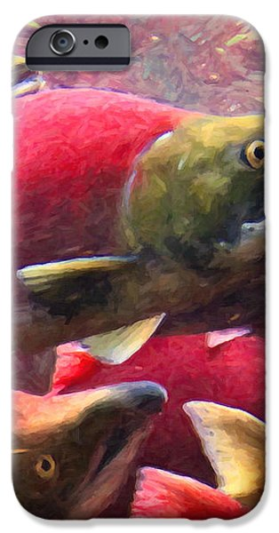 Salmon Run - Painterly iPhone Case by Wingsdomain Art and Photography