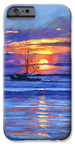 Most Sold iPhone Cases - Salmon Trawler at Sunrise iPhone Case by David Lloyd Glover