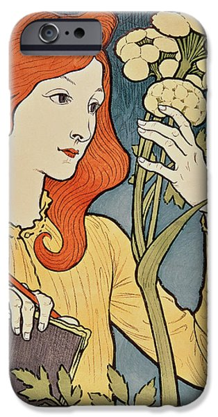 Red Drawings iPhone Cases - Salon des Cent iPhone Case by Eugene Grasset