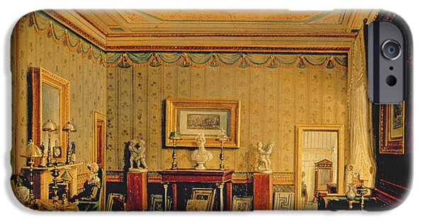 Furniture iPhone Cases - Salon In The Barbierrini House, 1830-40s Oil On Canvas iPhone Case by Francesco Diofebi