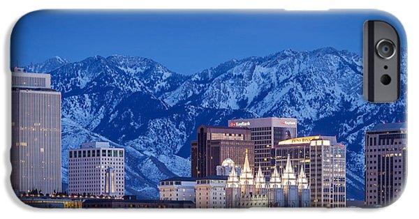Snowy Night iPhone Cases - Salt Lake City iPhone Case by Brian Jannsen