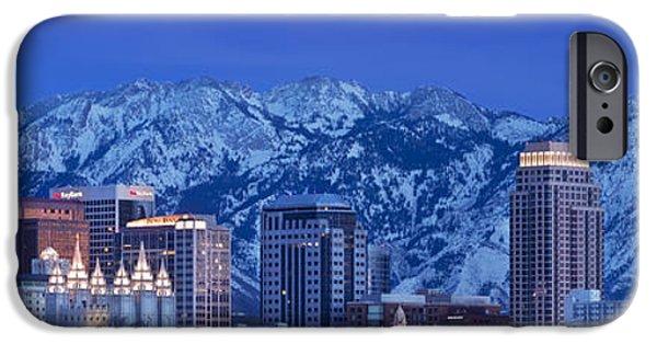 Snowy Night iPhone Cases - Salt Lake City Skyline iPhone Case by Brian Jannsen