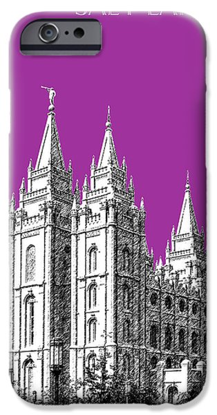 Pen And Ink iPhone Cases - Salt Lake City Skyline Mormon Temple - Plum iPhone Case by DB Artist
