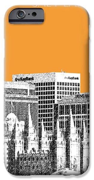 Pen And Ink iPhone Cases - Salt Lake City Skyline - Orange iPhone Case by DB Artist