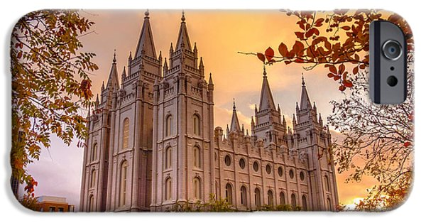 Fall iPhone Cases - Salt Lake City Temple iPhone Case by Emily Dickey