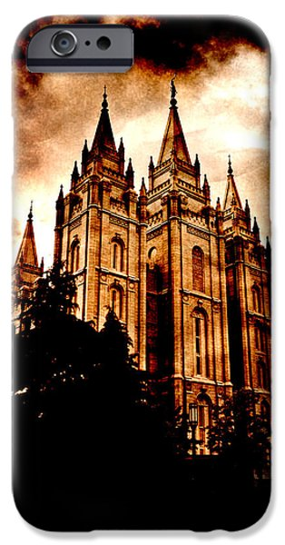 Night Angel iPhone Cases - Salt Lake City Temple iPhone Case by Lane Erickson