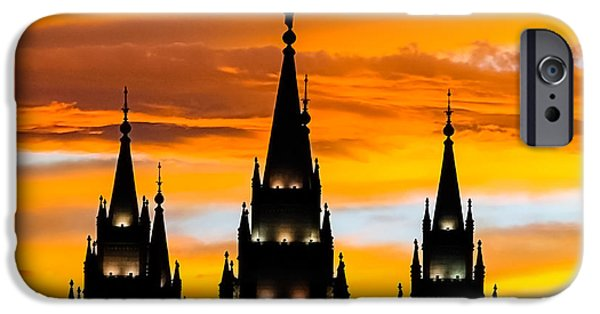 Angel Moroni iPhone Cases - Salt Lake City Temple Sunset iPhone Case by Kirk Strickland