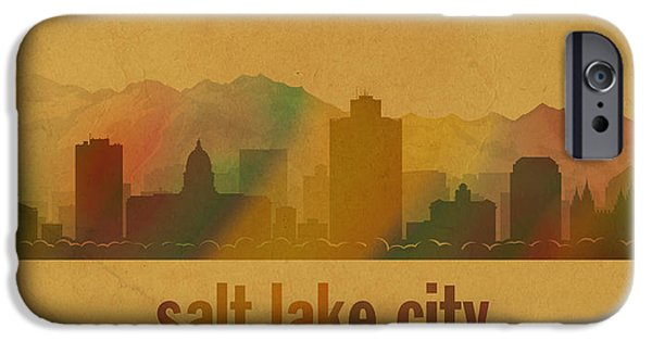 Parchment iPhone Cases - Salt Lake City Utah City Skyline Watercolor On Parchment iPhone Case by Design Turnpike