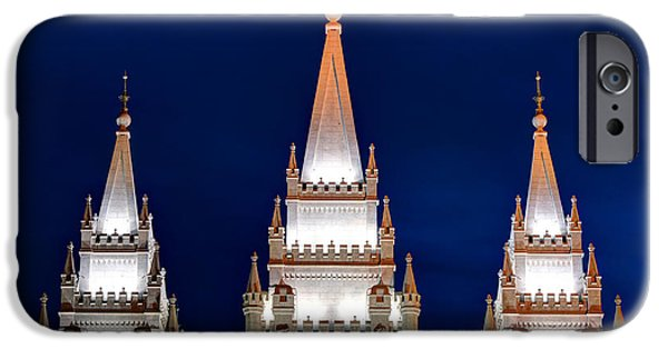 Angel Moroni iPhone Cases - Salt Lake LDS Mormon Temple at Night iPhone Case by Gary Whitton