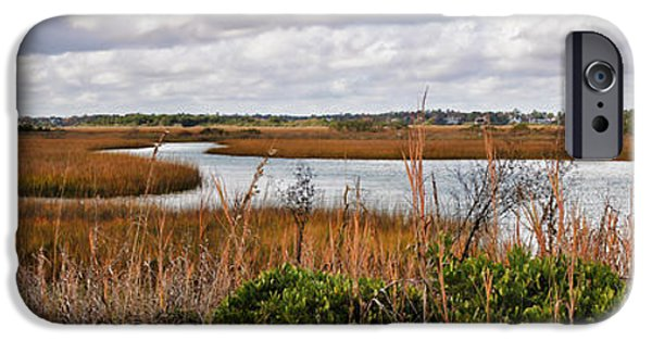Fabulous Gifts iPhone Cases - Salt Marsh Panorama iPhone Case by Paulette B Wright