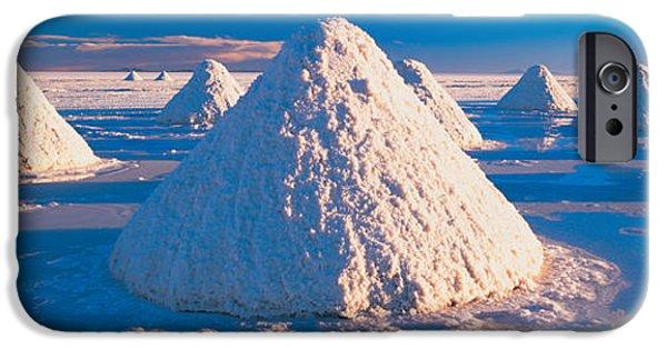 Repetition Photographs iPhone Cases - Salt Pyramids On Salt Flat, Salar De iPhone Case by Panoramic Images