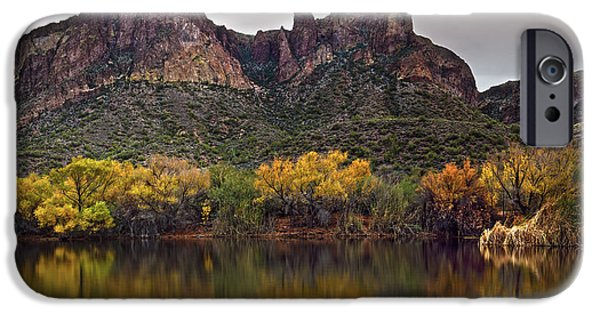 Willow Lake iPhone Cases - Salt River Mountain Reflections iPhone Case by Dave Dilli