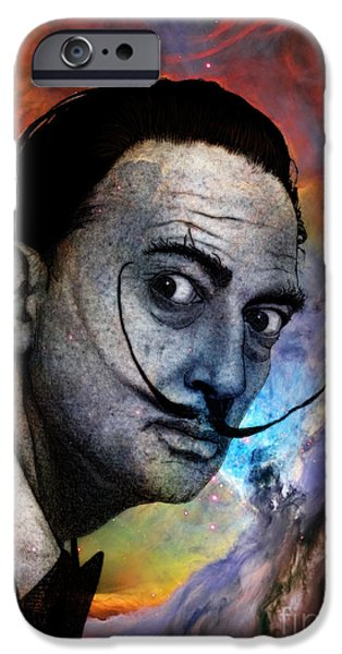 Painter Drawings iPhone Cases - Salvador Dali iPhone Case by Barruf Art