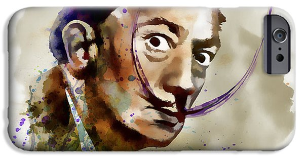 Mustaches iPhone Cases - Salvador Dali watercolor iPhone Case by Marian Voicu