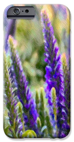 Meadow Photographs iPhone Cases - Salvia Sway iPhone Case by Jean OKeeffe Macro Abundance Art