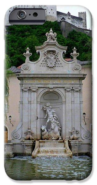 Salzburg iPhone Cases - Salzburg Castle with Fountain iPhone Case by Carol Groenen
