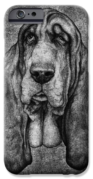 Kyle Wood iPhone Cases - Sam Portait Black and White iPhone Case by Kyle Wood