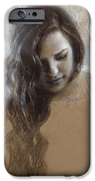 Contemplative Drawings iPhone Cases - Samantha Sketch iPhone Case by Karen Whitworth