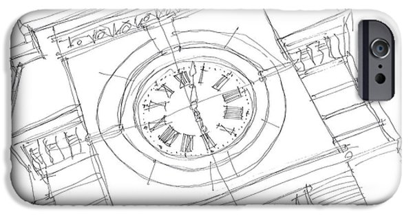 Pen And Ink iPhone Cases - Samford Clock Sketch iPhone Case by Calvin Durham