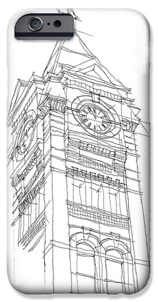 Toomers Corner iPhone Cases - Samford Hall Sketch iPhone Case by Calvin Durham