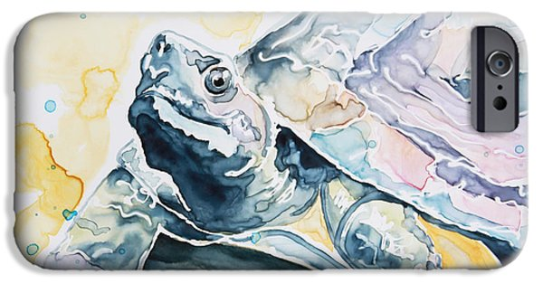 Reptile Paintings iPhone Cases - Sammy the Turtle iPhone Case by Shaina Stinard