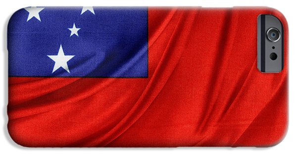 Patriotism iPhone Cases - Samoan flag iPhone Case by Les Cunliffe