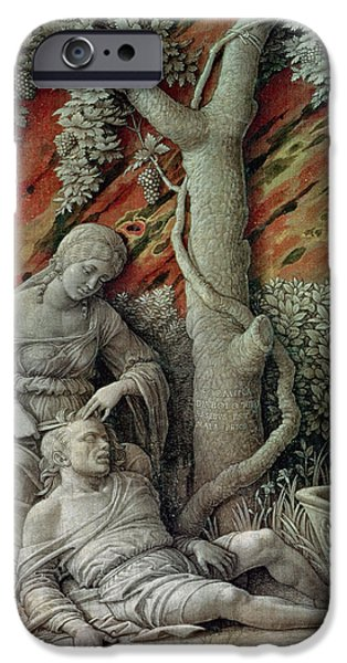 Old Testament iPhone Cases - Samson And Delilah, C.1500 Glue Size On Linen iPhone Case by Andrea Mantegna