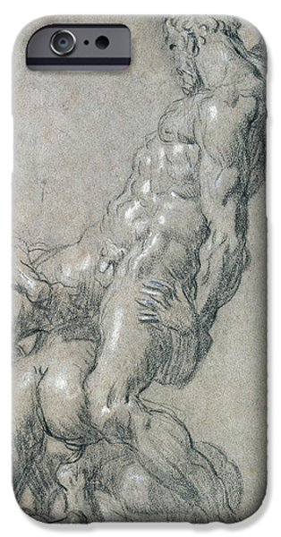 Muscle Paintings iPhone Cases - Samson Killing the Philistines iPhone Case by Jacopo Robusti Tintoretto