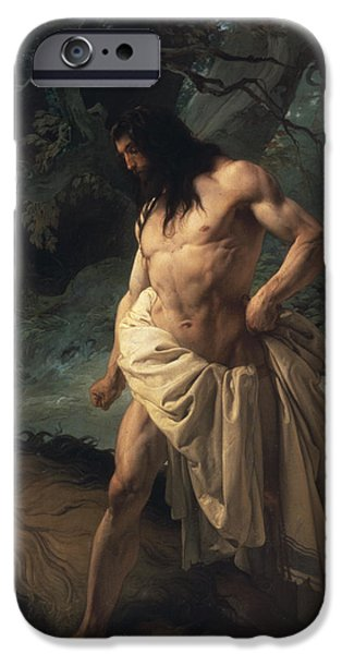 Muscle Paintings iPhone Cases - Samson Slays the Lion iPhone Case by Francesco Hayez