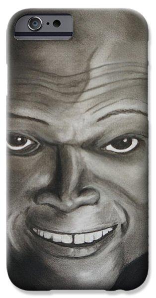 Jackson Pastels iPhone Cases - Samuel L. Jackson iPhone Case by Merrin Jeff