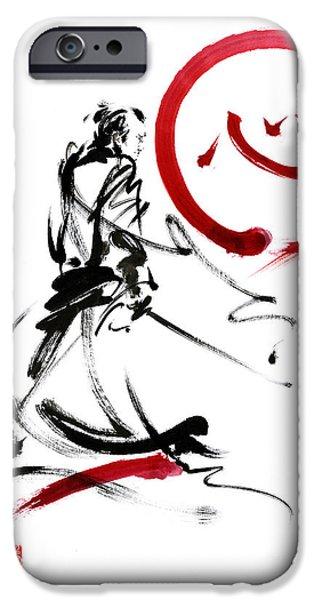 Recently Sold -  - Fury iPhone Cases - Samurai enso circle wild fury bushi bushido martial arts sumi-e  iPhone Case by Mariusz Szmerdt
