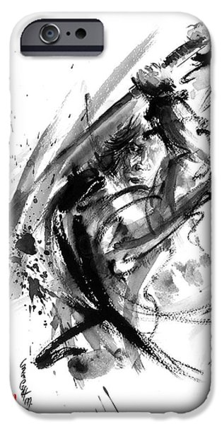 Recently Sold -  - Fury iPhone Cases - Samurai ronin wild fury bushi bushido martial arts sumi-e original ink painting artwork iPhone Case by Mariusz Szmerdt