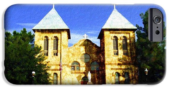 Las Cruces Digital iPhone Cases - San Albino Church iPhone Case by Kurt Van Wagner
