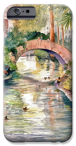 Marilyn Smith Paintings iPhone Cases - San Antonio Riverwalk iPhone Case by Marilyn Smith