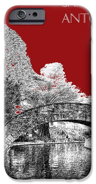 Pen And Ink iPhone Cases - San Antonio Skyline River Walk - Dark Red iPhone Case by DB Artist