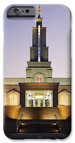 Angel Moroni iPhone Cases - San Antonio Temple iPhone Case by Renee Hong