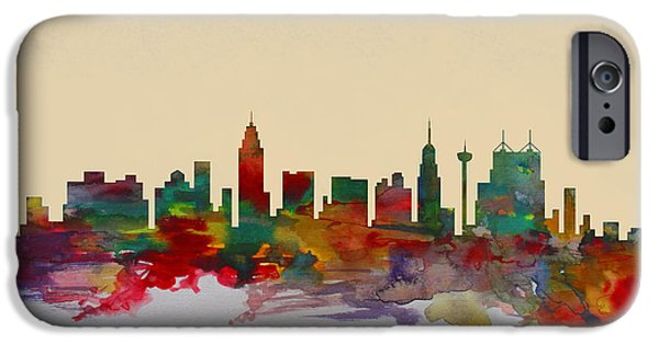 The View Mixed Media iPhone Cases - San Antonio Texas Panoramic View iPhone Case by Dan Haraga