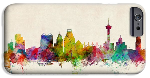 States iPhone Cases - San Antonio Texas Skyline iPhone Case by Michael Tompsett