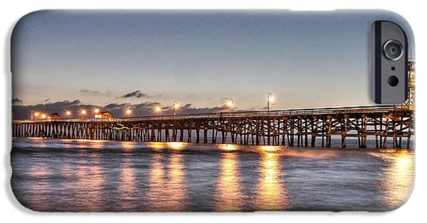 Village By The Sea iPhone Cases - San Clemente Pier at Night iPhone Case by Richard Cheski