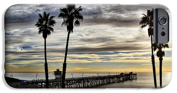 Ocean Sunset Pyrography iPhone Cases - San Clemente Pier at Sunset iPhone Case by Roger Merrill