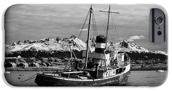 Saint Christopher iPhone Cases - san cristobal saint christopher tugboat wreck in Ushuaia Argentina iPhone Case by Joe Fox