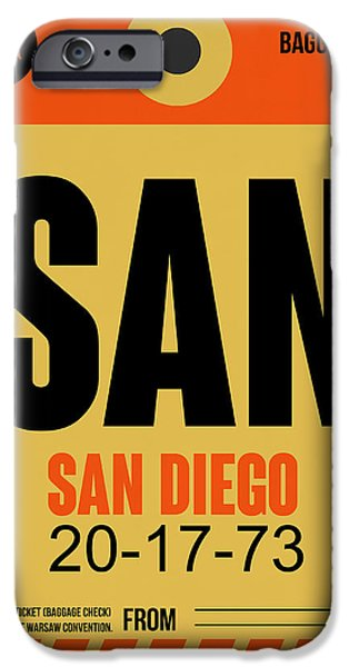 Town iPhone Cases - San Diego Airport Poster 1 iPhone Case by Naxart Studio