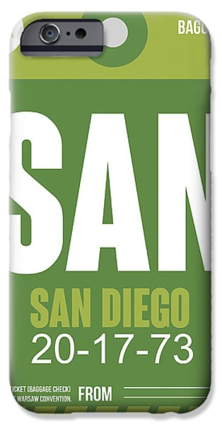 Towns Digital Art iPhone Cases - San Diego Airport Poster 2 iPhone Case by Naxart Studio
