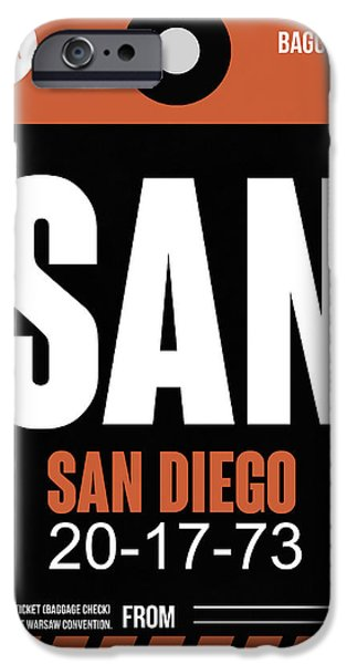 Towns Digital Art iPhone Cases - San Diego Airport Poster 3 iPhone Case by Naxart Studio