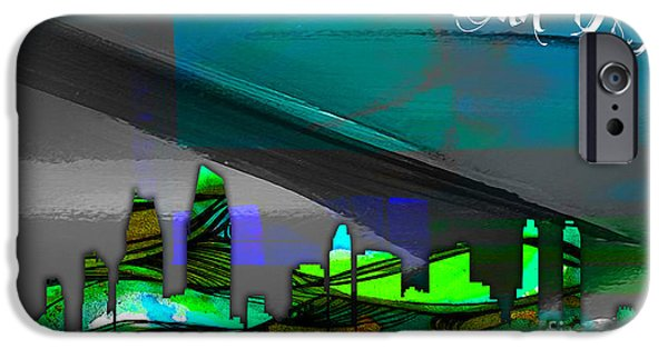 San Diego iPhone Cases - San Diego California Skyline Watercolor iPhone Case by Marvin Blaine