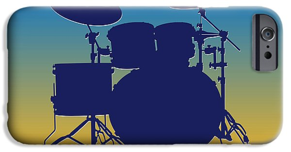 Drum Sets iPhone Cases - San Diego Chargers Drum Set iPhone Case by Joe Hamilton